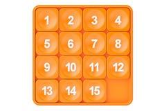 15-puzzle, jogo de quinze rendição 3d Fotos de Stock