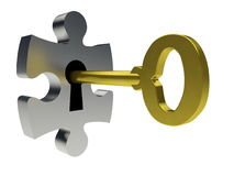 Puzzle and key. Locking or unlocking the puzzle Royalty Free Stock Photos