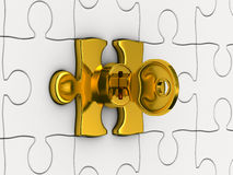 Puzzle with key. 3D image Royalty Free Stock Photos