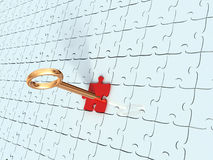 Puzzle and key. The puzzle lock with key Royalty Free Stock Photography