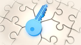 Puzzle and key vector illustration