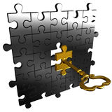 Puzzle key. Abstract render of silver puzzle and gold puzzle key Stock Photos
