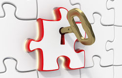 Puzzle and key for solution Stock Photos