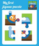 Puzzle kids activity. Complete the picture. Elementary jigsaw with fish. Educational game for pre school years children.  Stock Photos