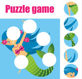 Puzzle kids activity. Matching children educational game. Match pieces and complete the picture. Royalty Free Stock Photos