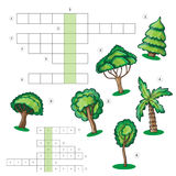 Puzzle kids activity sheet - Crossword with trees Stock Photos
