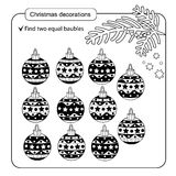 Puzzle for kids. Kid mind game. Assorted things to find the match. Christmas balls set Royalty Free Stock Image
