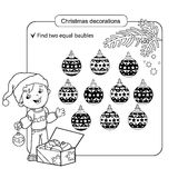 Puzzle for kids. Kid mind game. Assorted things to find the match. Christmas balls set. Stock Images
