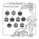 Puzzle for kids. Kid mind game. Assorted things to find the match. Christmas balls set. Coloring page for children. Stock Images