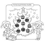 Puzzle for kids. Kid mind game. Assorted things to find the match. Christmas balls set. Coloring page for children. Royalty Free Stock Photo