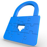Puzzle LAN Lock. Conceptual blue 3D puzzle lock with ethernet port keyhole with white background which demonstrate network security. This artwork created with Royalty Free Stock Image