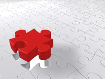 Puzzle Last Piece Coming Down, Jigsaw Concept, Red on White Royalty Free Stock Image