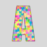 Puzzle Letter Alphabet - A. Colored Puzzle Piece. Stock Photos