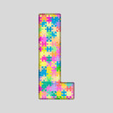 Puzzle Letter Alphabet - L. Colored Puzzle Piece. Stock Image