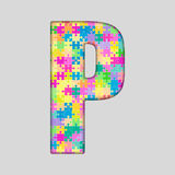 Puzzle Letter Alphabet - P. Colored Puzzle Piece. Stock Photo