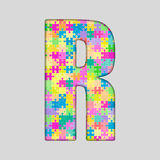 Puzzle Letter Alphabet - R. Colored Puzzle Piece. Stock Image