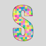 Puzzle Letter Alphabet - S. Colored Puzzle Piece. Royalty Free Stock Photos