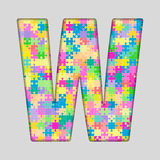 Puzzle Letter Alphabet - W. Colored Puzzle Piece. Stock Photo