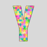 Puzzle Letter Alphabet - Y. Colored Puzzle Piece. Stock Photo