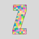 Puzzle Letter Alphabet - Z. Colored Puzzle Piece. Royalty Free Stock Image