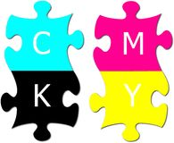 Puzzle with letters cmyk Royalty Free Stock Photos