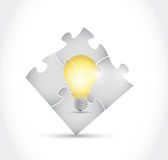 Puzzle and light bulb illustration design Stock Photography