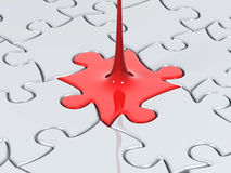 Puzzle liquid. Liquid puzzle piece close up Royalty Free Stock Photos