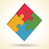 Puzzle logo. Isometric image. Vector illustration. Royalty Free Stock Photo