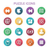 Puzzle long shadow icons Stock Photo