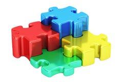 Puzzle métallique coloré, concept de logotype d'affaires rendu 3d Image libre de droits