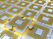 Puzzle made of fantasy CPU. Conceptual technology 3d illustration Stock Photo