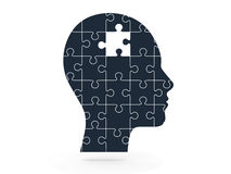 Puzzle mancante e testa umana Fotografie Stock Libere da Diritti