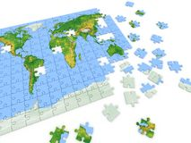 Puzzle map of the world Stock Photo
