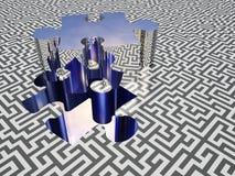 Puzzle maze. Puzzle piece on maze surface Stock Photography
