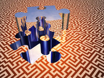 Puzzle maze. Puzzle piece on maze surface Royalty Free Stock Photos