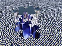 Puzzle maze. Puzzle piece on maze surface Stock Photos