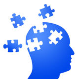 Puzzle mind and brain storming. Illustration as silhouette of human head with puzzle frames. related to mind struggle, creative thinking, brain storming, mind Stock Photo