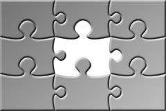 Puzzle with missing piece. Gray puzzle with missing piece Stock Photography