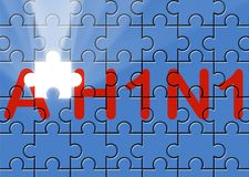 Puzzle with missing piece swine AH1N1 text Stock Photos