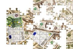 Puzzle with missing pieces. Euros & Dollars Stock Images