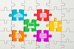 Puzzle and missing pieces, communication technologies conception Stock Photography