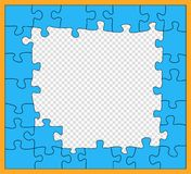 Puzzle, mosaïque bleue avec le contour foncé, style inachevé et plat Morceaux denteux Les détails dévoilent Concept d'affaires Mo illustration de vecteur