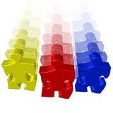 Puzzle moving team. On white background Royalty Free Stock Image