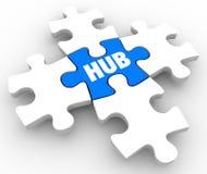 Puzzle moyen Piec de foyer d'emplacement de réseau de connexion centrale de hub illustration de vecteur