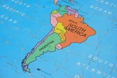 puzzle na południu ameryki mapy. Zdjęcia Royalty Free