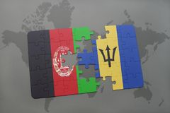 puzzle with the national flag of afghanistan and barbados on a world map background. Stock Image