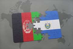 puzzle with the national flag of afghanistan and el salvador on a world map background. Stock Photography