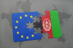puzzle with the national flag of afghanistan and european union on a world map Stock Photography