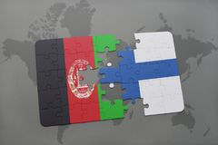 Puzzle with the national flag of afghanistan and finland on a world map background. 3D illustration Stock Image