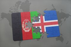 Puzzle with the national flag of afghanistan and iceland on a world map background. 3D illustration Royalty Free Stock Photos